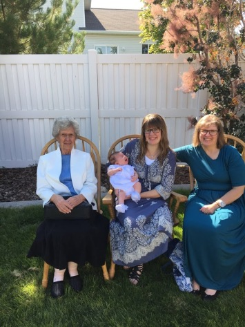 This is a 4 generation picture with my Grandma Bell, Mom, Sienna, and me.